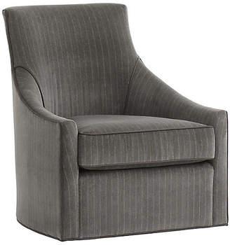 Andrew Martin Fraser Swivel Accent Chair - Gray/Silver Velvet