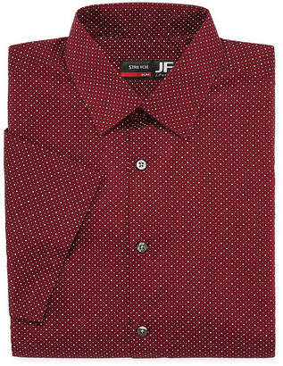Jf J.Ferrar Stretch Short Sleeve Broadcloth Dots Dress Shirt - Slim