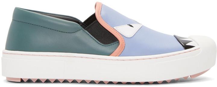 Fendi Multicolor Bag Bugs Slip-On Sneakers