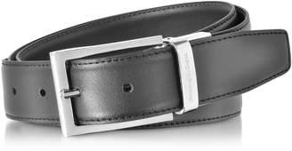 Black/dark Brown Smooth Leather Reversible And Adjustable Belt
