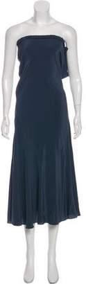 Haute Hippie Strapless Silk Maxi Dress