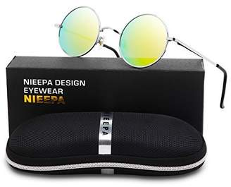 eacf7c8f82 NIEEPA John Lennon Vintage Round Polarized Hippie Sunglasses Circle Metal  Driving Sun Glasses (Mercury Lens