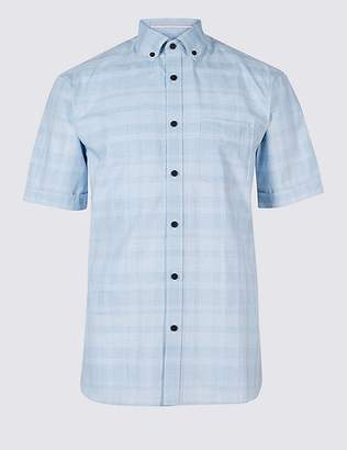 Marks and Spencer 2in Longer Pure Cotton Checked Shirt with Pocket