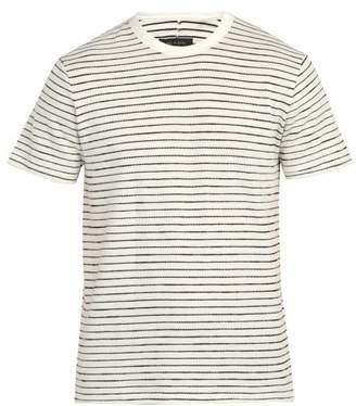 Rag & Bone Railroad Stripe Cotton Blend T Shirt - Mens - White Multi