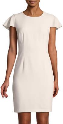 Karl Lagerfeld Paris Ruffled Cap-Sleeve Sheath Dress