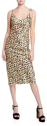 Christina Mestiza New York Cheetah-Print Scoop-Neck Tie-Shoulder Midi Dress