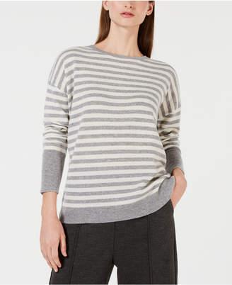 Calvin Klein Crew-Neck Striped Cashmere Sweater