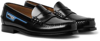 Prada Logo-Appliqued Spazzolato Leather Penny Loafers
