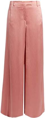 Valentino Hammered-satin wide-leg trousers