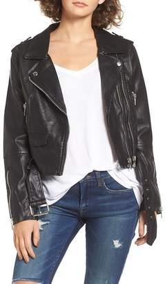 BLANKNYC Denim Faux Leather Crop Moto Jacket $128 thestylecure.com