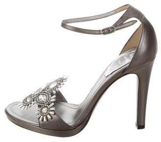 Rene Caovilla Embellished Ankle Strap Sandals w/ Tags