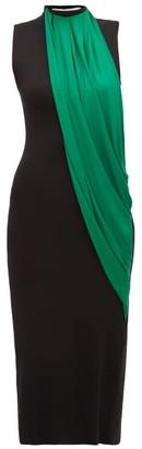 Marina Moscone - Contrast Panel High Neck Dress - Womens - Black Multi
