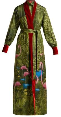 F.R.S – For Restless Sleepers F.r.s For Restless Sleepers - Tharos Flamingo Print Silk Coat - Womens - Green Print