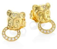 Temple St. Clair Lion Cub Diamond& 18K Yellow Gold Stud Earrings