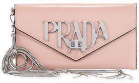 Prada Spazzolato Logo Envelope Clutch Bag