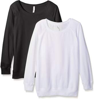 Clementine Apparel Women's Ladies Curvy Plus Size Slouchy Pullover Sweatshirt (2 Pack)