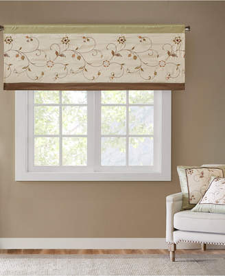 "Madison Park Serene 50"" x 18"" Colorblocked Embroidered Rod Pocket Window Valance"