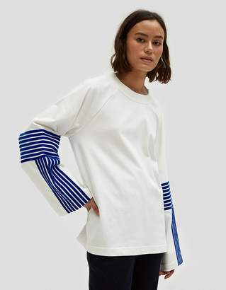 Dima Leu Velvet Stripe T-Shirt in Royal Blue