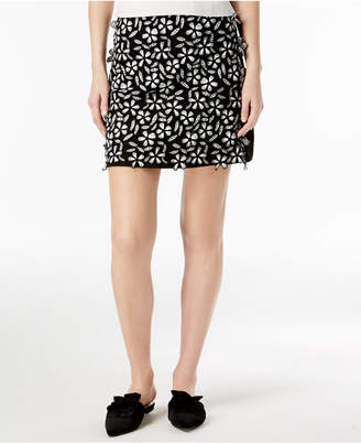 French Connection Embroidered Mini Skirt