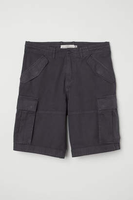 H&M Cotton Twill Cargo Shorts - Gray