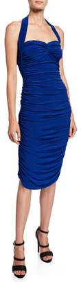 Norma Kamali Bill Ruched Sweetheart Halter Dress