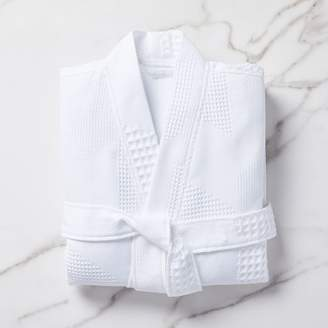 west elm Geo Waffle Organic Cotton Robe - White