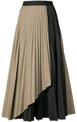 Tome contrast pleated skirt
