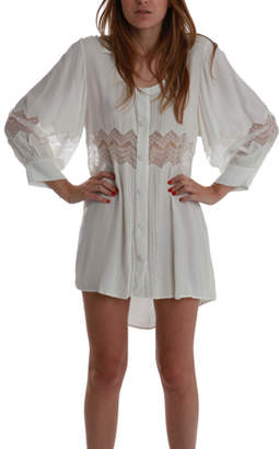 Shakuhachi Embroidered Lace Shirt Dress