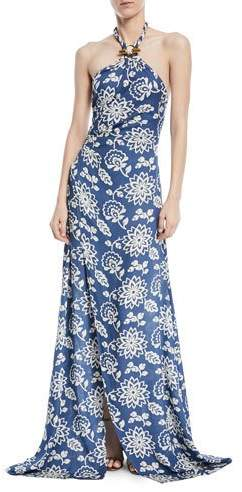 Ralph Lauren Collection Halter Floral-Print Silk Gown with Toggle & Rope