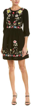 French Connection Embroidered A-Line Dress