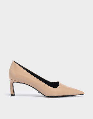 Charles & Keith Asymmetric Leather Pumps