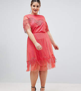 Asos DESIGN Curve lace tea dress with fringing