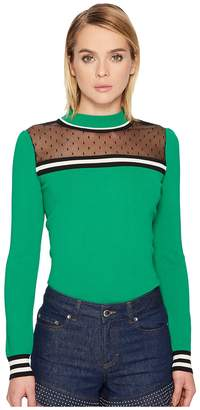 RED Valentino Stretch Viscose Pullover with Point D'Esprit Women's Clothing