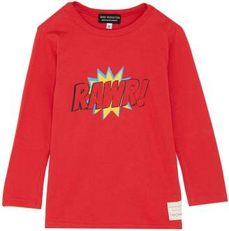 Wee Monster 'Rawr' slogan graphic print kids long sleeve T-shirt