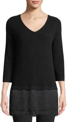 Neiman Marcus Fringe-Trim V-Neck Cashmere Sweater