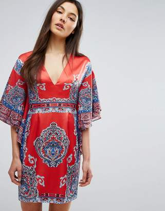 Couture Comino Printed Kimono Dress With Plunge Front