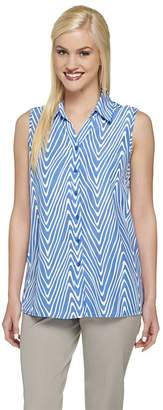 Susan Graver Printed Sleeveless Button Front Blouse