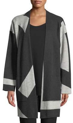 Eileen Fisher Graphic Merino Long Kimono Cardigan, Plus Size
