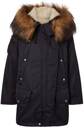 Burberry Faux Fur Trim Parka with Detachable Warmer