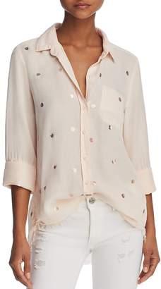 Bella Dahl Metallic-Detail Frayed Hem Shirt