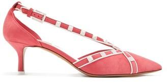 Valentino Free Rockstud Suede Pumps - Womens - Pink White