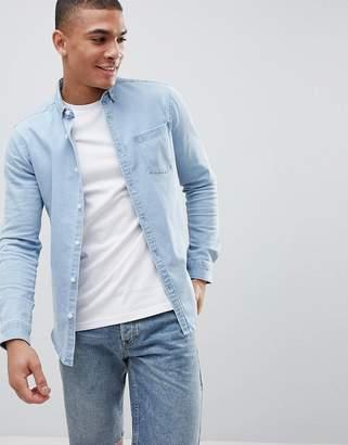 Asos DESIGN stretch slim denim shirt in bleach wash