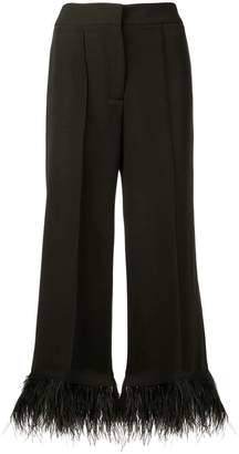 Milly feather cuff wide leg trousers