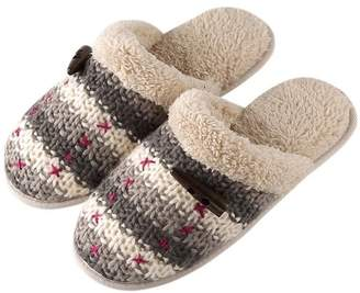 YUTIANHOME Women's Slippers Knitted Cotton Washable Soft Warm Non-slip Flat Closed Toe Indoor Home Bedroom Shoes