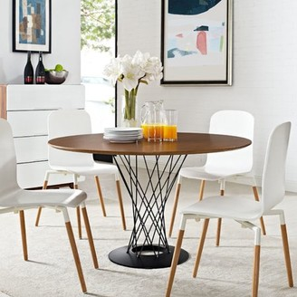 Modway Cyclone Round Wood Top Dining Table with Metal Base in Walnut