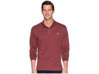 U.S. Polo Assn. Long Sleeve Solid Small Pony Interlock Polo Shirt Men's Long Sleeve Pullover