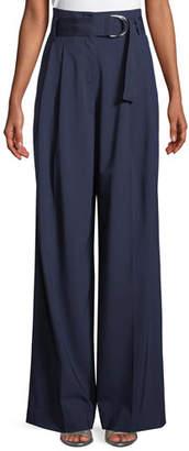 Diane von Furstenberg Wide-Leg Belted Wool Pants