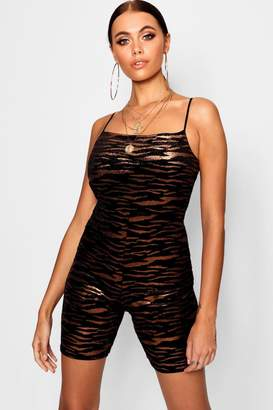 boohoo Tiger Velvet Square Neck Unitard