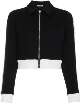 Miu Miu Striped sports jacket with logo
