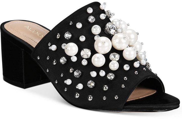 ALDO Women's Pearls Embellished Slides